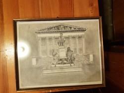 Jó történelmi grafika, szignó nincs, méret jelezve, szép, kopottas keretben