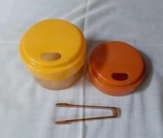 Retro keletnémet cukortartó, cukorcsipesszel (NDK műanyag doboz)