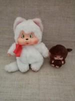 Vintage monchhichi fehér nyuszi rózsaszín fülekkel a hozzá ájándék kicsi  ülő Monchhici
