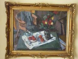 Eladó Szentgyörgyi Kornél: Virágcsendélet című olajvászon, Képcsarnokos festménye