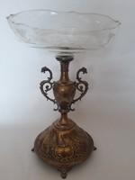 Antik ezüstözött üvegbetétes kínáló, asztalközép 33 cm