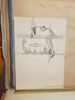 Gergely Péter: Világteremtés II., 1972, tus, méret jelezve