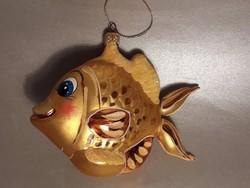 Nagy méretű üveg hal halacska formájú karácsonyfa dísz