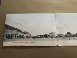 Budapest ,Erzsébetváros , Főtér  1904- ből 3 részes leporelló képeslap.