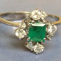 Fehér Arany Bril Gyémánt Smaragd Gyűrű 49-es