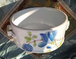 Gyönyörű antik porcelán vagy nagyon szép fényes mázú fajansz ételhordó