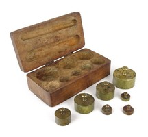 1A578 Antik réz konyhai súlykészlet dobozában