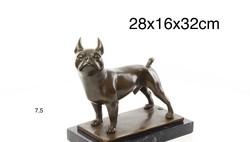 Francia bulldog -kutya bronzszobor -állatábrázolás