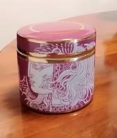 Hollóházi Szász Endre porcelán tégely rózsaszín