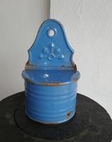 Ritka kék zománcos fali sótartó, nosztalgia darab, paraszti dekoráció