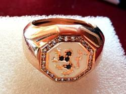 Aranyozott ezüst gyűrű tűz zománc diszitéssel