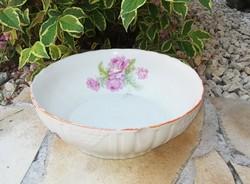 Zsolnay ritka rózsás porcelán tál, pogácsás tál, paraszti dekoráció, Gyűjtői darab, nosztalgia