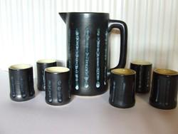 Régi, retró Tófej kerámia boros készlet-kancsó, kiöntő és poharak