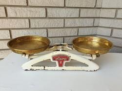 Öntöttvas régi serpenyős vintage vas mérleg réz tálcákkal