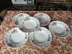 6 db Gyönyörű vastag porcelán Ibolyás mélytányér, tányér, paraszti dekoráció, Gyűjtői szépségek