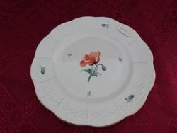 Ó Herendi porcelán, antik süteményes tányér, pipacs mintával.