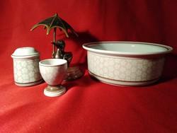 002  3 darab Villeroy & Boch Dalarna porcelán sótartó tojás tartó és tál 20x7,5 cm a tál