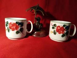 002  2 db Lilien Austria kézzel készült porcelán csésze 8x8 cm