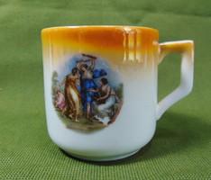 Zsolnay zsáner jelenetes gyöngyház mázas csésze