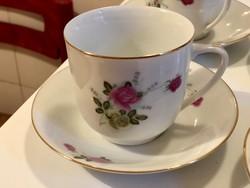 Virágmintás porcelán kávés csészék-aljukkal