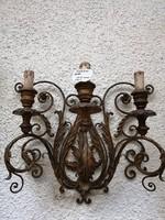 Kézzel kovácsolt  bronz falikar pár. Díszes filigrán munka.