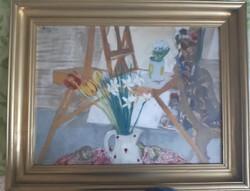 Breznay József ,Tulipánok c. festménye. Képcsarnokban vásárolt, regisztrált. M:78x59cm
