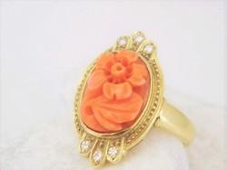Kámea Korall-gyémántokkal 14 kr.arany gyűrű