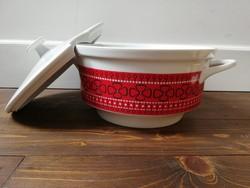 Kahla retro porcelán leveses tál piros fehér fekete lóhere mintás hibátlan
