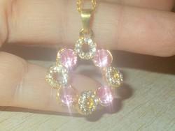 Rózsaszínű cirkon töltött Rosé Arany GF.Nyaklánc