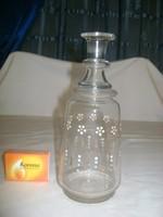 RÉGI szakított aljú, festett likőrös üveg, karaffa
