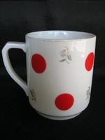 Régi jelzésű Drasche porcelán piros pöttyös bögre