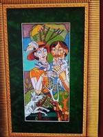 Józsa János Férfi és nő macskával és madárral