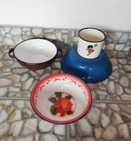 Zománcos 4 db-os csomag, bögre, virágos tányér, 16 cm-es barna tál, kék tányér, nosztalgia darabok