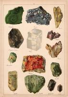 Ásvány (23), fluorit, kősó, malachit, sugárkő, gipsz, amazonit, litográfia 1899, eredeti, 24 x 34 cm