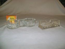 Régi üveg sótartó, asztali fűszeres - két darab