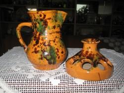 Óbányai , szép régi fazekas termékek ,Teimel Józseftől , kiöntő és itató  ,  a 60 es  évekből