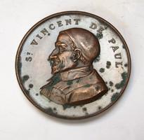 Páli Szent Vince Társaság 1875, francia jótékonysági emlékérem.