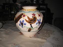 Zsolnay , Sinkó féle madaras váza  , pirogranitból  , 28 x 24 cm