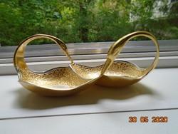 Aranyozott,kézzel készült hattyúpár,ezüstözött kézzel vésett páva mintával,asztalközép,ünnepi dísz