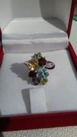 Többszínű ásványköves 925 ezüst gyűrű 54