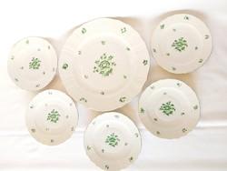 Herendi 6db-os zöld Apponyi mintás süteményes szett