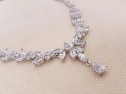 Gyönyörű cirkon köves menyasszonyi nyakék, nyaklánc
