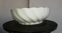 Zsolnay csavartmintás fehér porcelán 24cm-es pogácsás tál, paraszttál, nosztalgia darab