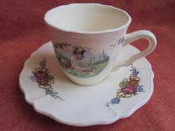Sarreguemines porcelán kávés csésze+alj