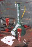 Anton Reisenbauer: Sakk és kártya (Asztali csendélet) - art deco olaj-vászon festmény, keretezve