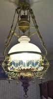Majolika betétes lüszterlámpa lüszter lámpa csillár 1900-as évek első feléből