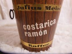 Fém - Julius Meinl -  kávéshordó mintájú doboz - régi 15 x 14 cm - tetején pici festékhiba