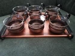 Vintage 1960-as évek Schott Mainz Jena Glas vörösréz teáskészlet