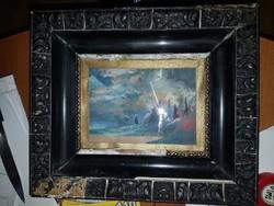 Általam kibontott, ismeretlen festmény, bontási folyamat fényképezve, Nibelung legenda, Siegfried