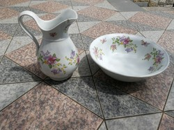Mosdó készlet, Kancsó, mosdókagyló, tál. Virágmintás, vastag porcelán teli virágokkal!